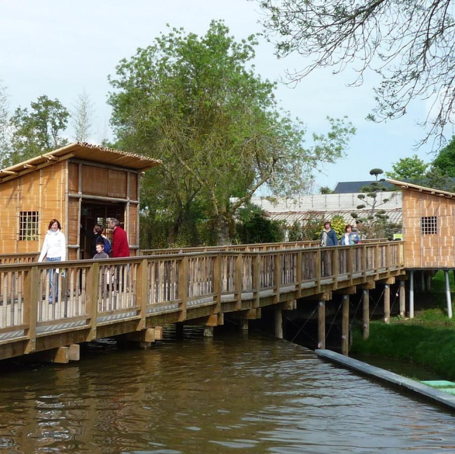 Cabanes bambou, parc Terra Botanica Angers