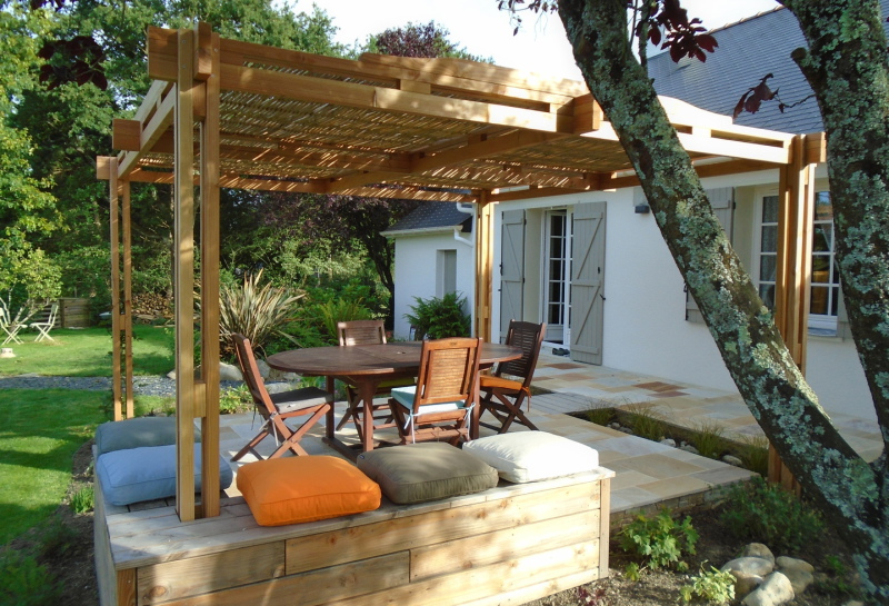 Pergola bambou bois kit soleil bioclimatique terrasse
