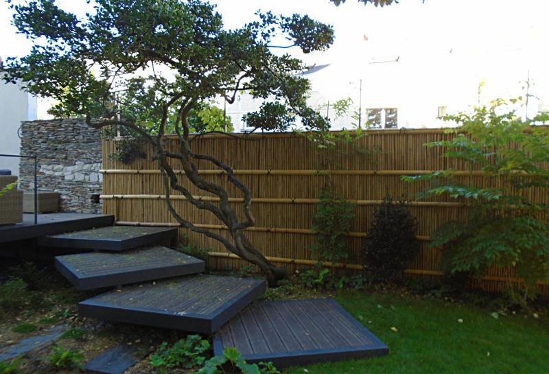 palissade clôture barrière bambou jardin contemporain traditionnel japonais