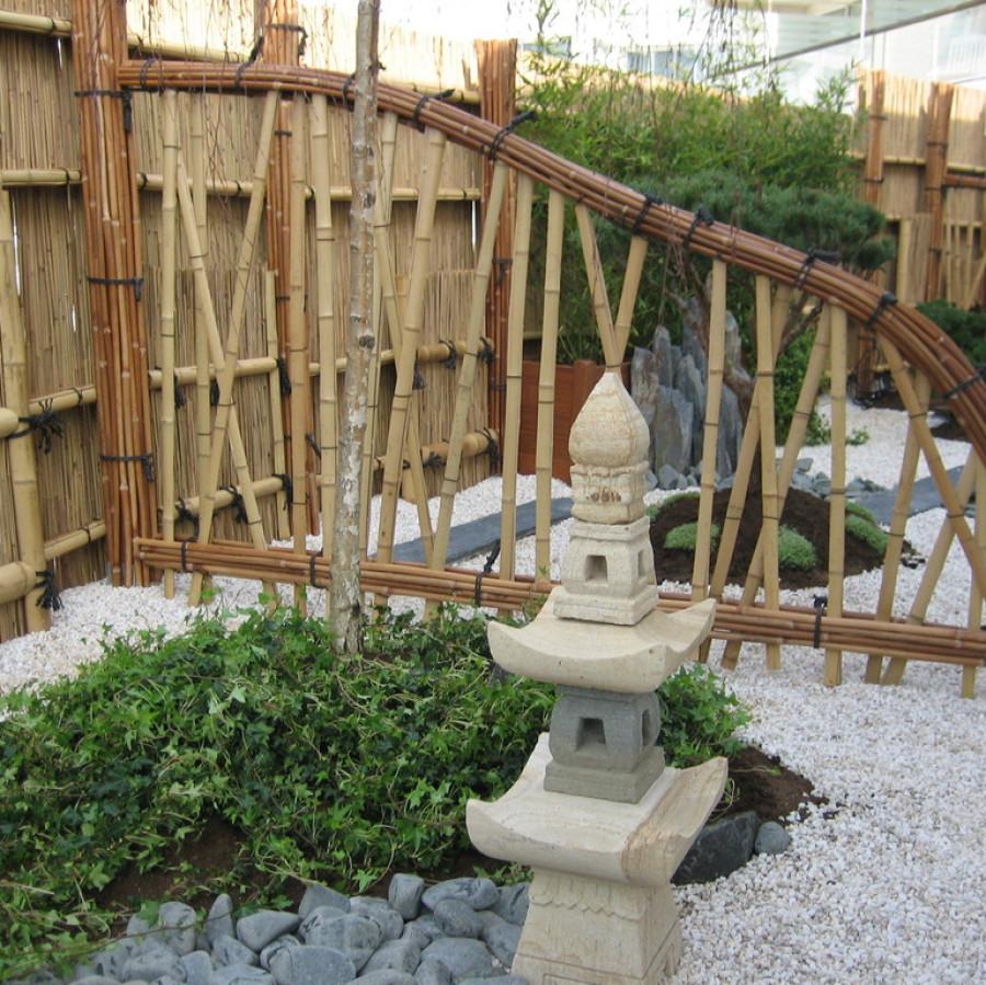Koestu gaki, barrière traditionnelle bambou jardin japonais, zen, clôture, palissade, séparation