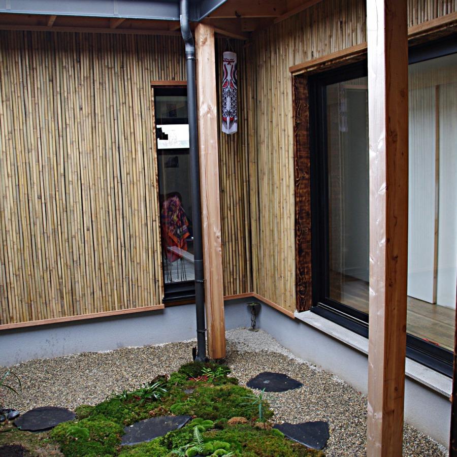Bardage bambou, patio, barrière traditionnelle bambou jardin japonais, zen, clôture, palissade, séparation
