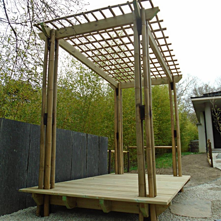 Pergola, terrasse traditionnelle bambou jardin japonais, zen, gazebo, tonnelle
